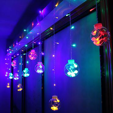 Plug Powered LED Wishing Ball Curtain Light String 110V/220V