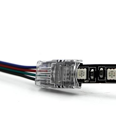 RGB Cable Adapter Clip Connector Wire Strip Connector solderless 2Pin 4Pin Connector for 5050 3528 LED Strip to Wire Use