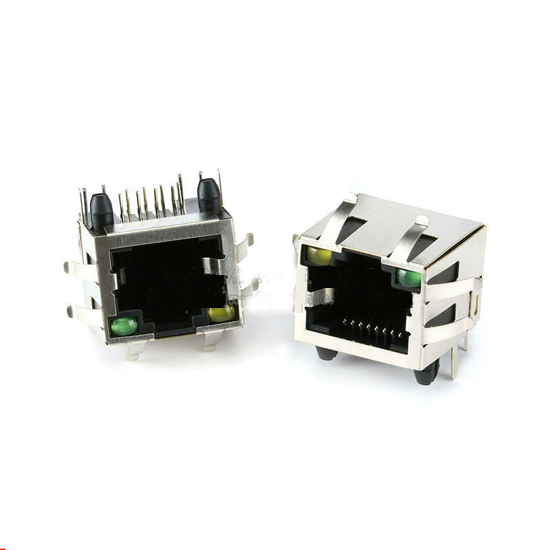 RJ45 Network Shielded Socket Connector 8P with Light with Buckle