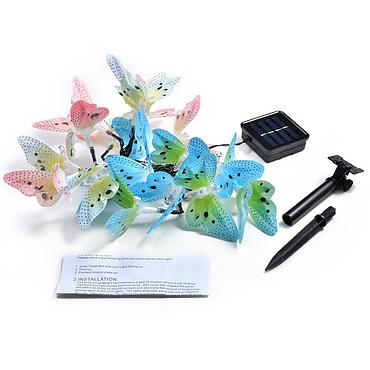 Solar Powered LED Butterfly Light String 4.8M