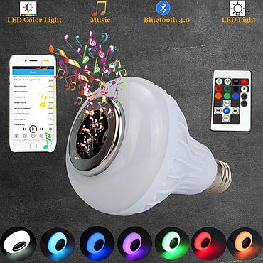 12W E26 E27 Bluetooth Speaker Bulb AC110V/220V Home Light Dimmable LED Bulb Remote Control