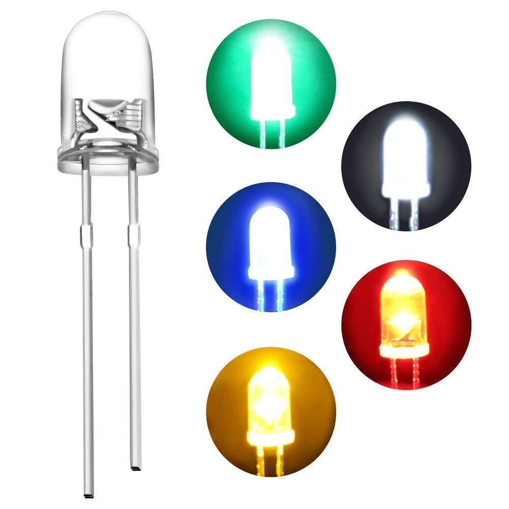 5mm Single Color Flash LED Round Water Clear Diode Emitting White/Red/Green/Blue/Yellow