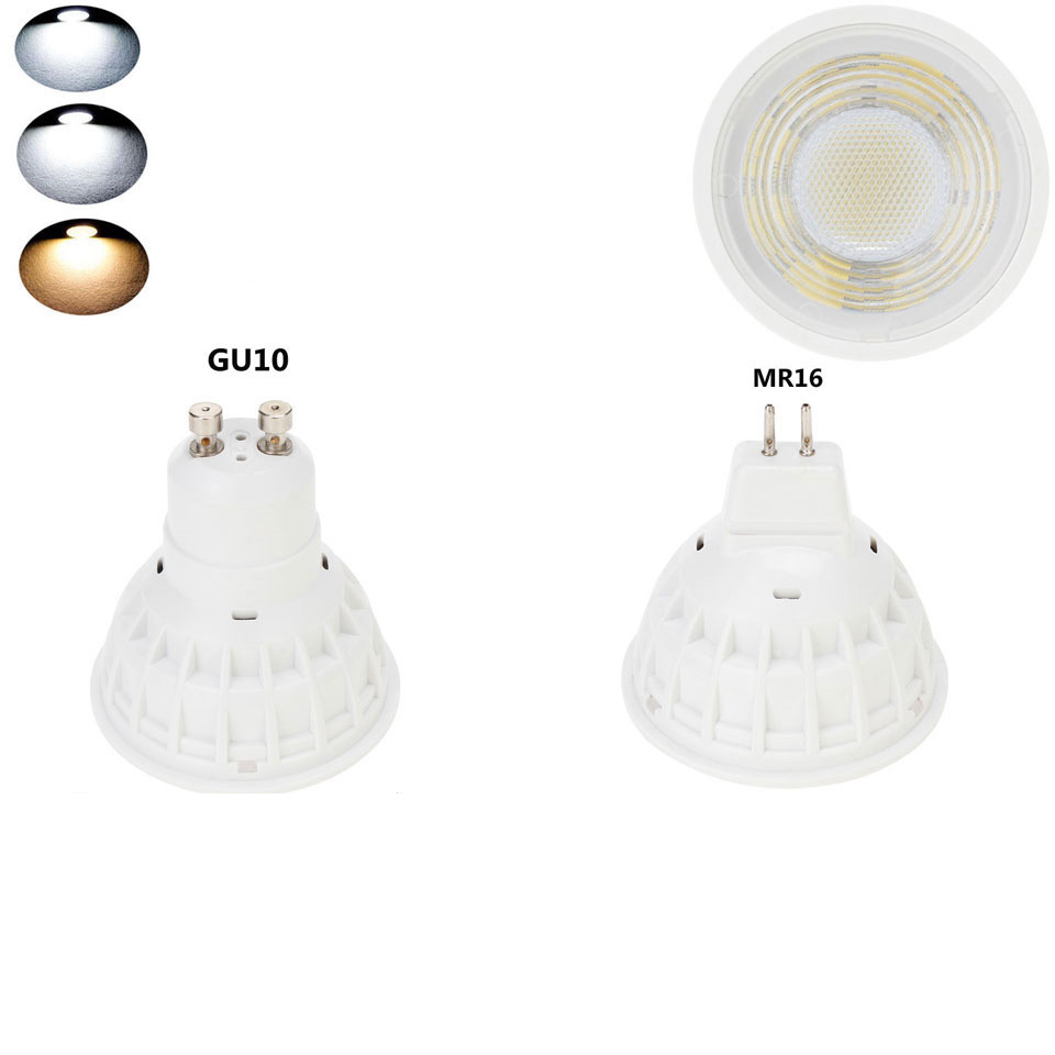 15W GU10 MR16 COB LED Bulb Lamp 110V/220V/DC12V LED Dimmable Spotlight Lens Cover