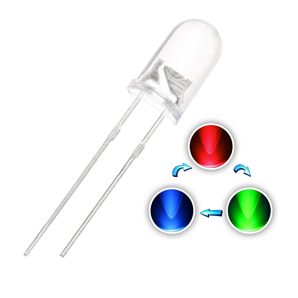 F5 5mm Fast/Slow RGB Flash LED Round Diffused Red Green Blue Rainbow Multi Color Light Emitting Diode