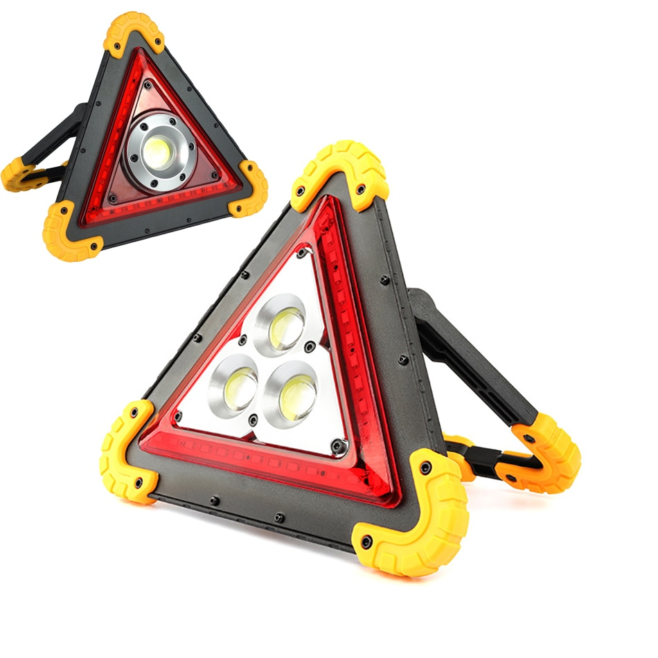 10W 50W Triangle COB Rechargeable Floodlight Warning Light