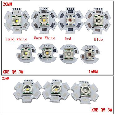 1W CREE XRE Q5 High Power LED Emitter White/ Warm White Blue With 12-20mm Aluminum PCB