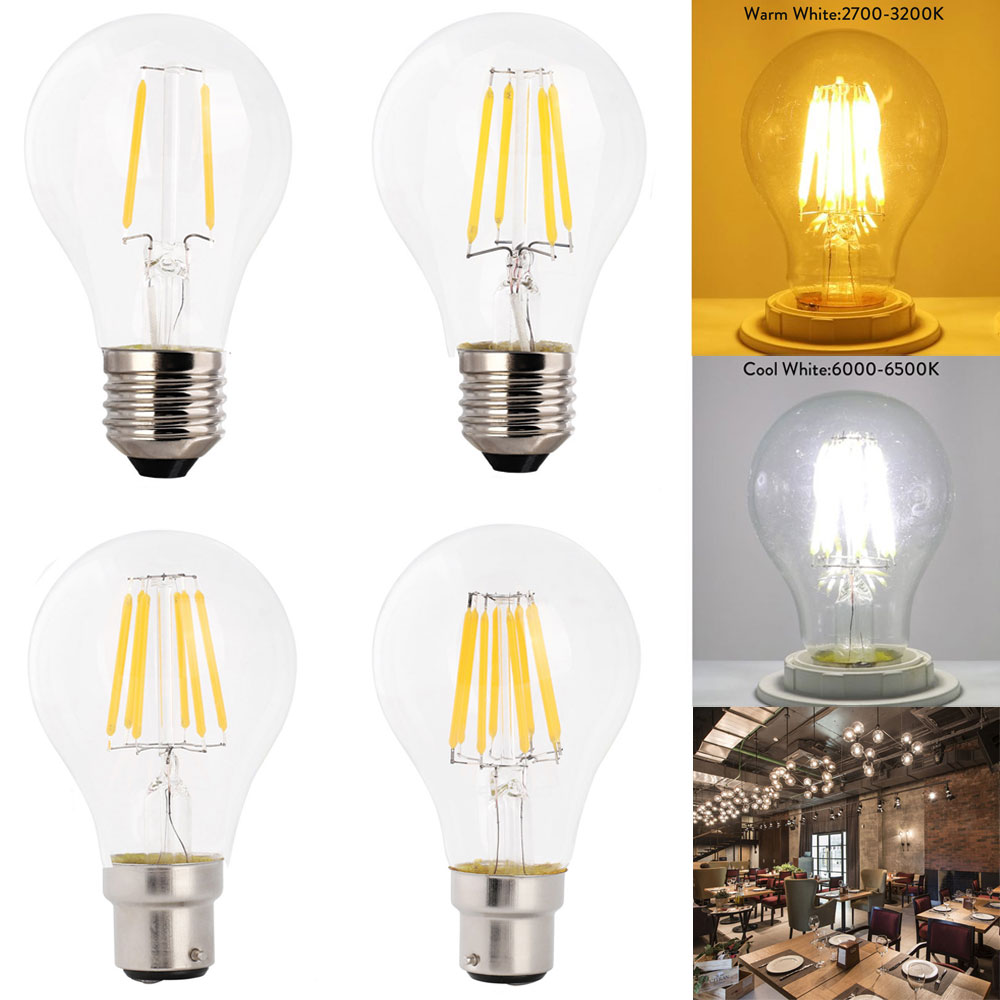2W 4W 6W 8W E27 B22 A60 LED Edison Bulb AC220V Home Light LED Filament Light Bulb