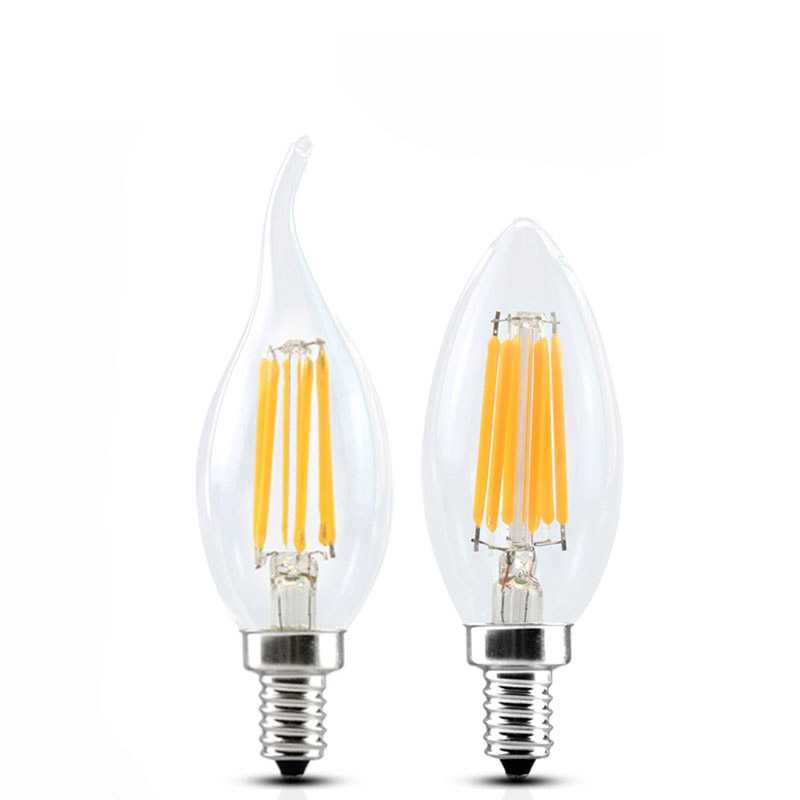 2W 4W 6W E14 E27 C35 C35L LED Edison Bulb AC220V Home Light LED Filament Candle Bulb