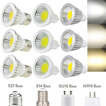 3W 5W 7W 9W E27 E14 GU10 MR16 COB LED Bulb Lamp LED AC220V DC12V Dimmable Spotlight
