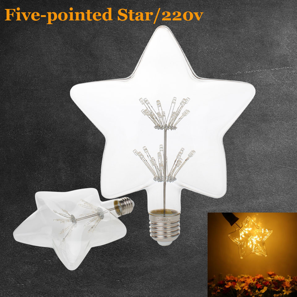 3W E27 LED Five-pointed Star Edison Bulb AC220-240V Home Light LED Filament Light Bulb