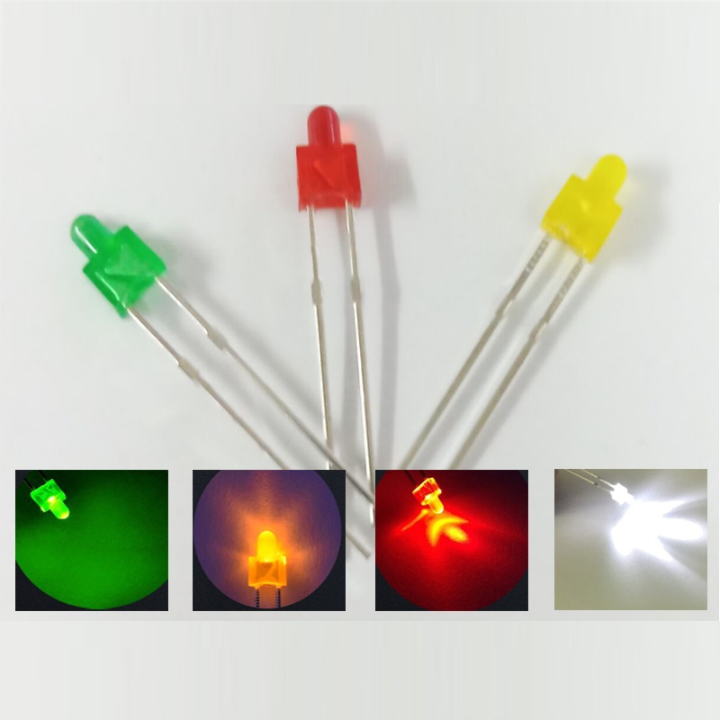 F2  2mm Diffused Colored LED Diode Lights Emitting White/Red/Green/Yellow