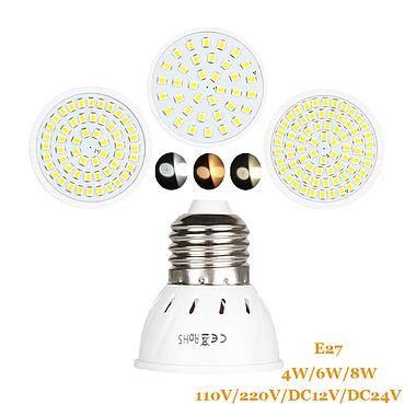 4W 6W 8W E27 2835 SMD LED Bulb Lamp 110V/220V/DC12V/DC24V Home Light Spotlight