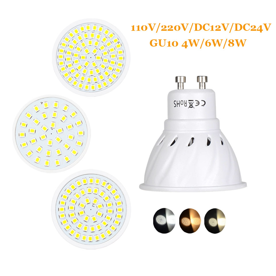 4W 6W 8W GU10 2835 SMD LED Bulb Lamp 110V/220V/DC12V/DC24V Home Light Spotlight
