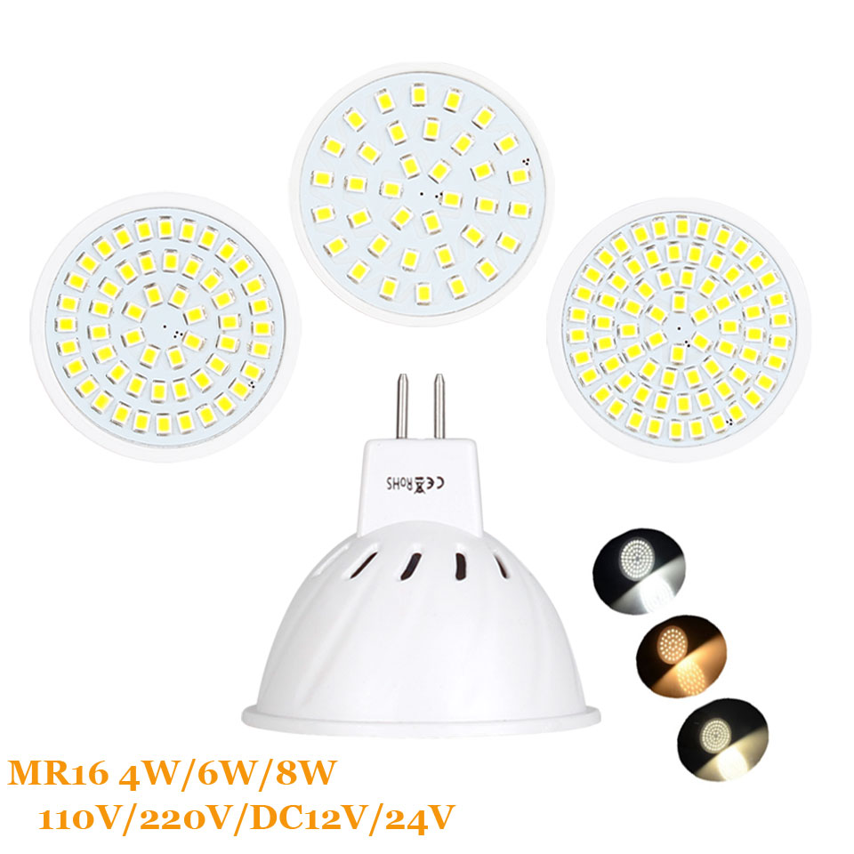 4W 6W 8W MR16 2835 SMD LED Bulb Lamp 110V/220V/DC12V/DC24V Home Light Spotlight