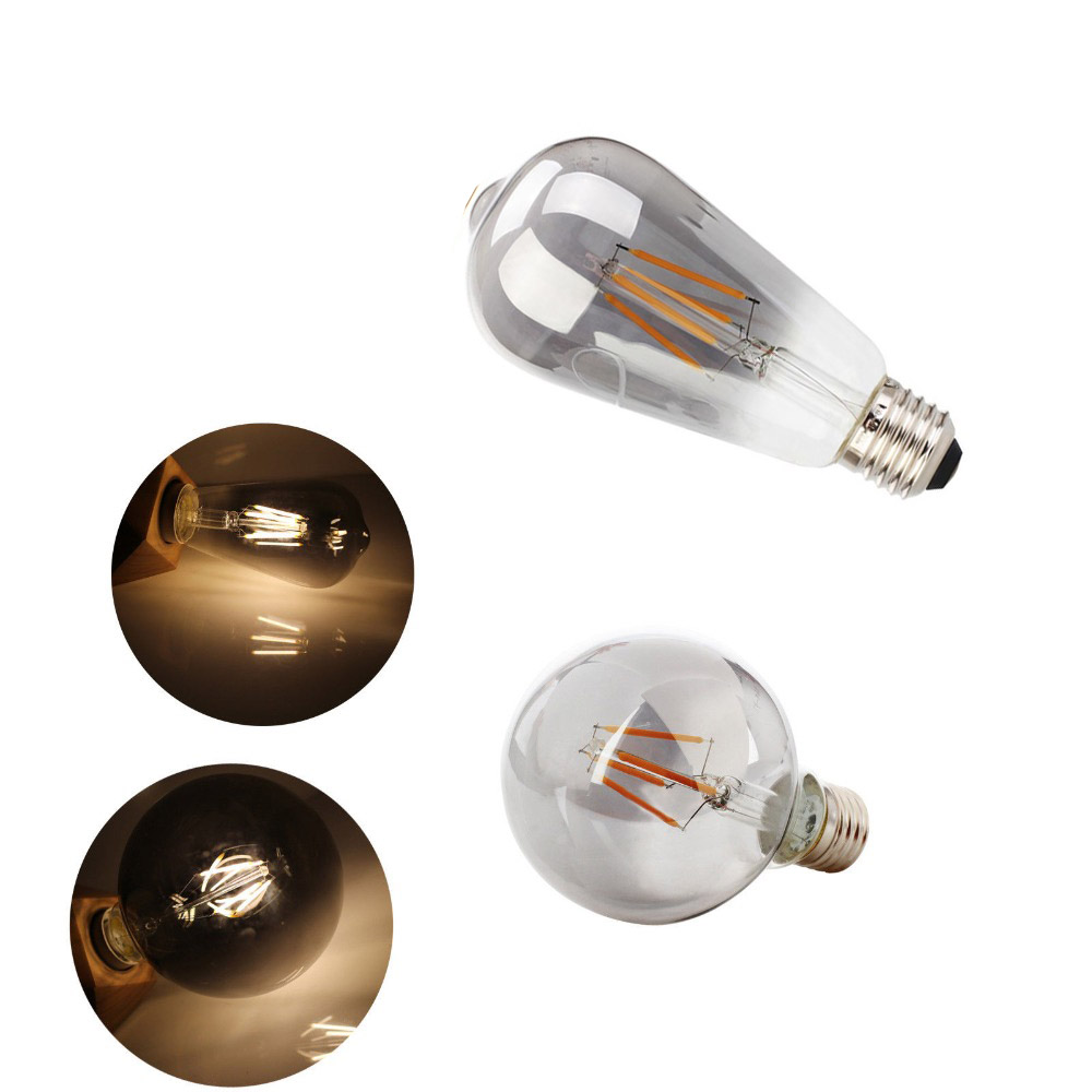 4W E27 G95 G125 ST64 G80 Smoky Gray LED Edison Bulb AC220V Home Light LED Filament Light Bulb