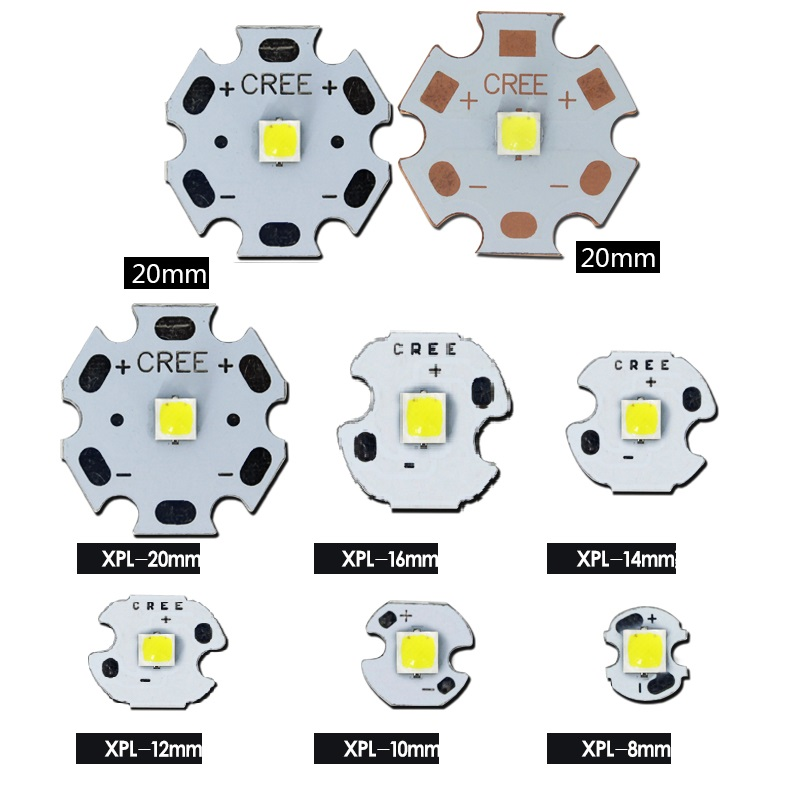 10W CREE XPL High Density High Power LED Emitter Warm Neutral White /White With 8-20mm Aluminum/ Copper PCB