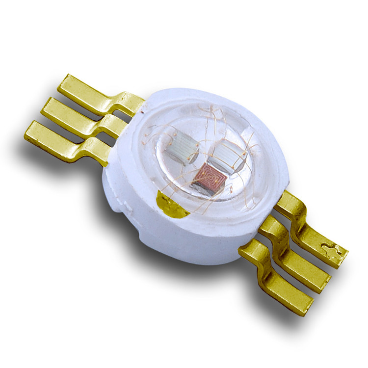 3W High Power Imitation Lumen RGB Led Six Feet 3 Chips Gold-plated Copper Holder