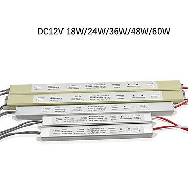 110V-220V to DC12V 18W 24W 36W 48W 60W Ultra-thin Driver Power Supply Adapter Transformer for LED Strip Lights