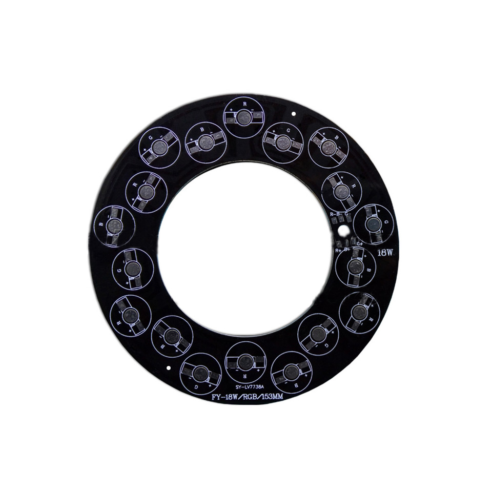 153mm 18LEDs RGB Aluminum Base Plate Circle Black PCB Board for Underground/Wall Lamp