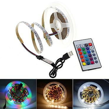 2835 SMD Flexible LED Strip Emitting White / Warm White / RGB + USB Power Supply DIY
