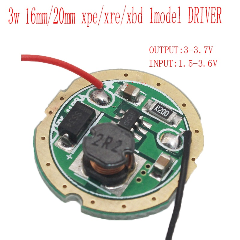 3W 16mm 20mm LED Driver Input DC 1.5-3.7V Output 3-3.7V 600-700mA 1 Mode
