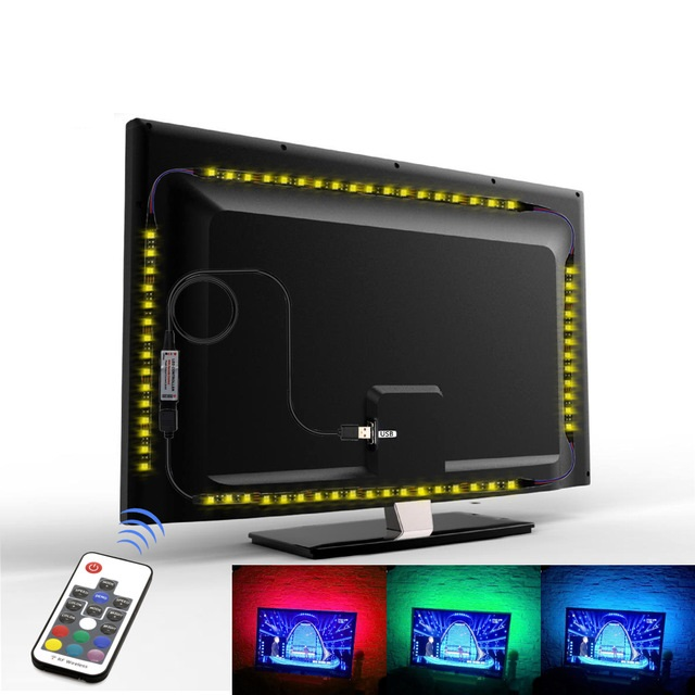 5V 5050 SMD Flexible RGB LED Strip Color Changeable TV Desktop Screen Background Bias Lighting