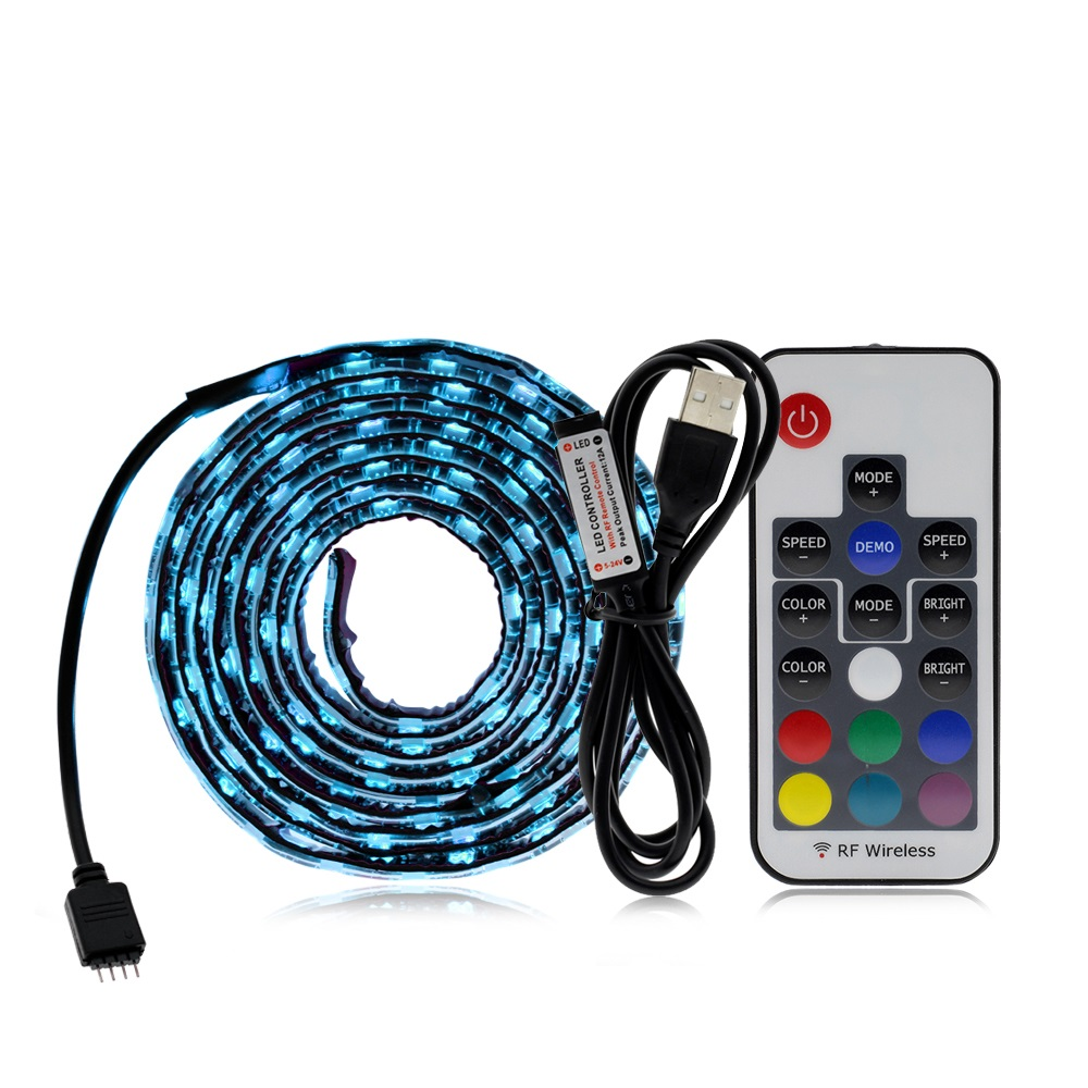 5V 5050 SMD RGB LED Strip with USB Controller For TV Background Lighting Music Control / Bluetooth / RF 17Key / mini 3Key Set