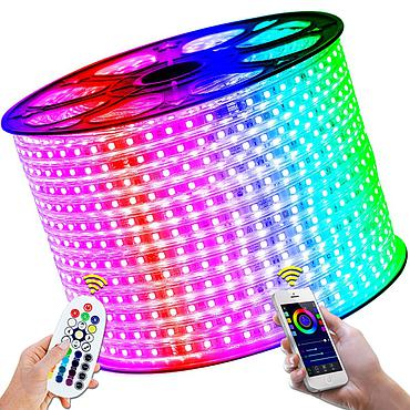 AC 220V 5050 SMD LED Flexible Strip 60LEDs/m 7 Colors RGB Flash Light