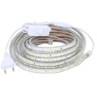AC 220V 5050 SMD LED Flexible Strip 60LEDs/m Tinned Copper Wire Emitting White/Warm White