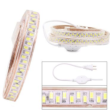 AC 220V 5730 SMD Gear Shape LED Flexible Strip 180LEDs/m Emitting White/Warm White/Blue