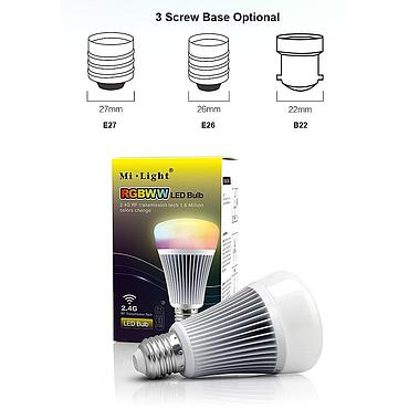 AC85-265V 2.4G Wireless E27 8W RGBWW+ Color Temperature Dimmable 2 in 1 Smart MiLight LED Bulb