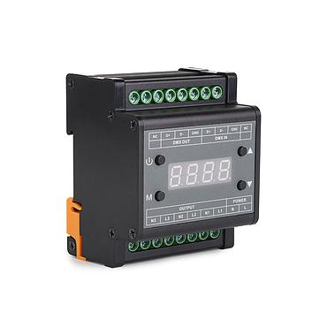 AC90-240V 3CH Output Guide Rail Type DMX Triac Dimmer with Digital Tube Display