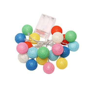 Battery Powered LED Cotton Ball Light String 3M