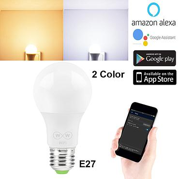 WiFi Smart Light Bulb 6.5W E27 lamp 2700-3500K NO RGB White Light and Warm Light Only for Amazon Alexa Google Home 650ml