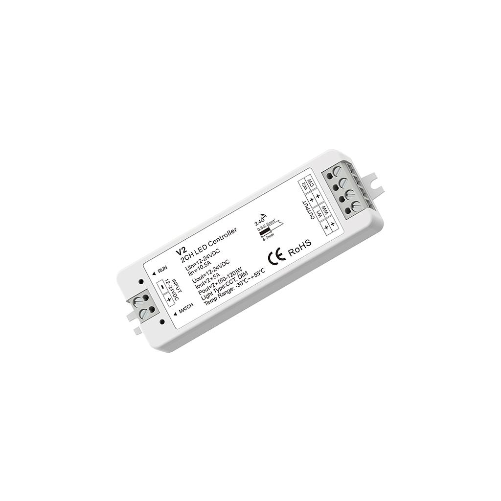 V2 DC12-24V RF2.4G 2 Channel Single Color/ Color Temperature Constant Voltage Mini Controller