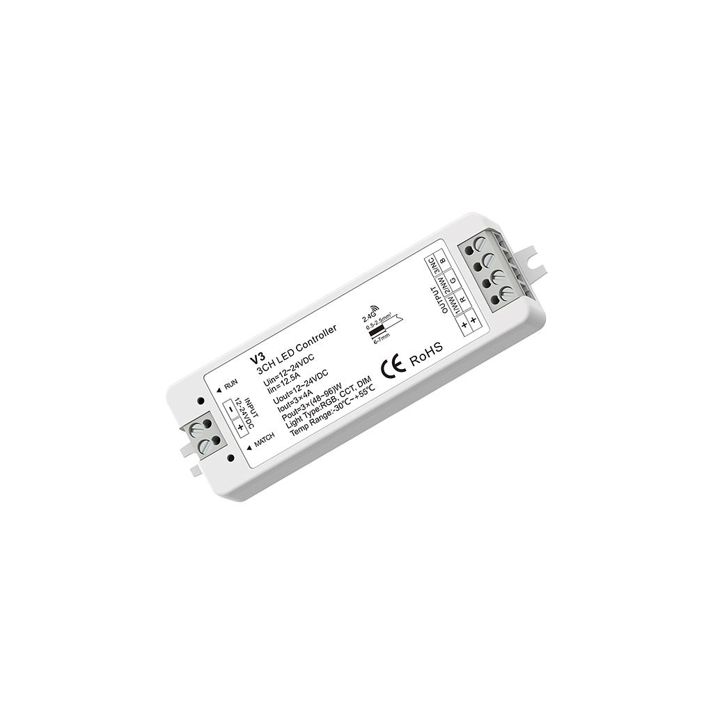 V3 DC12-24V RF2.4G 3 Channel RGB/Color Temperature/ Dimming Mini Controller