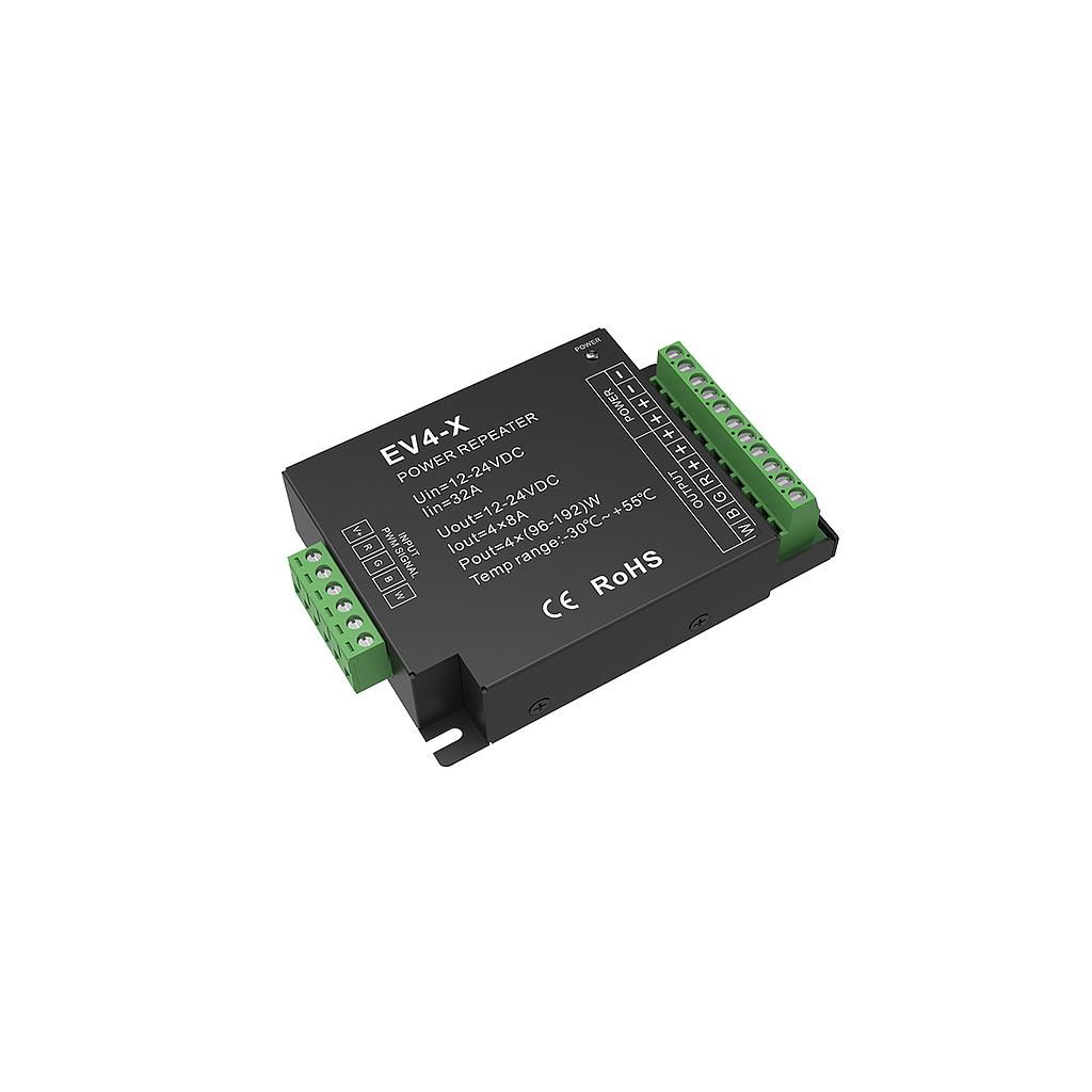 EV4-X DC12-24V 4 Channel RGB/RGBW/Color Temperature/Dimming PWM CV Power Repeater