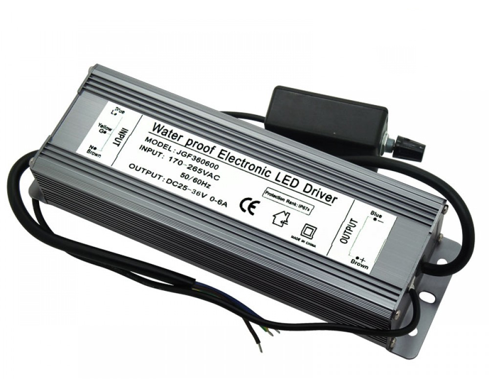200W Dimmable LED Driver Input AC170-265V DC25-36V 0-6A Waterproof JGF360600
