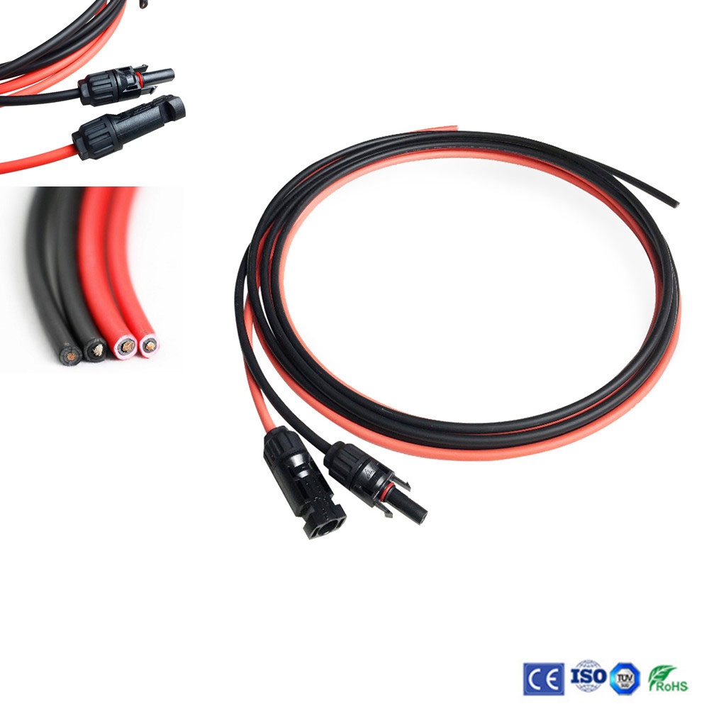 Cable Wire with MC4 Female and Male Connector Black+Red 1 Pair