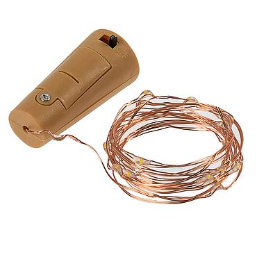 Cork Shaped Battery Powered LED Fairy Light String Copper Wire 2M