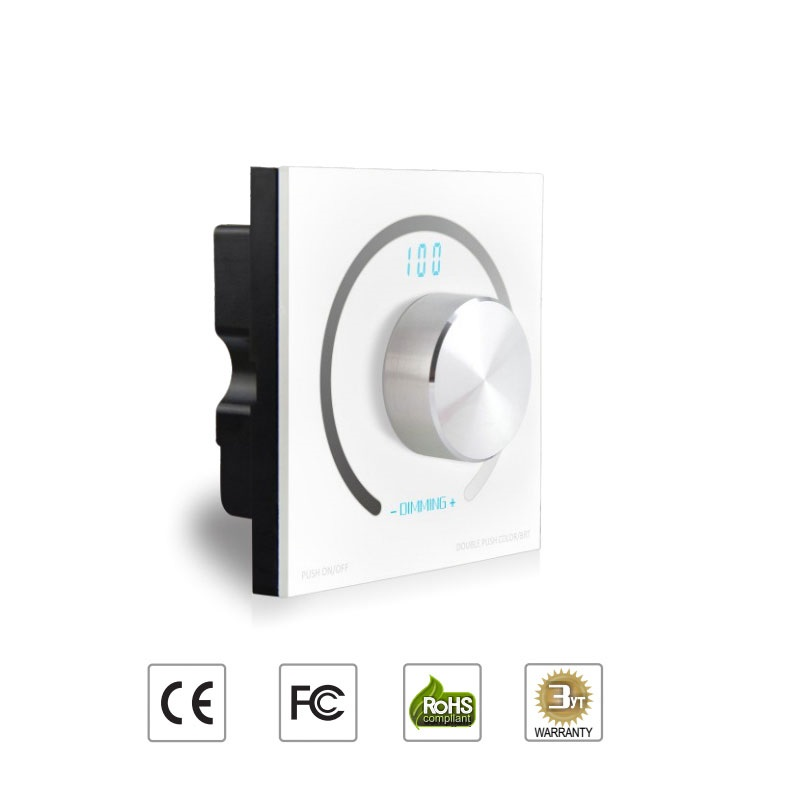 DC12-24V 4Ax3CH Wall Mount Glass Rotary Panel LED Dimmer Switch Dimming PWM Controller for LED Strip Light Tape