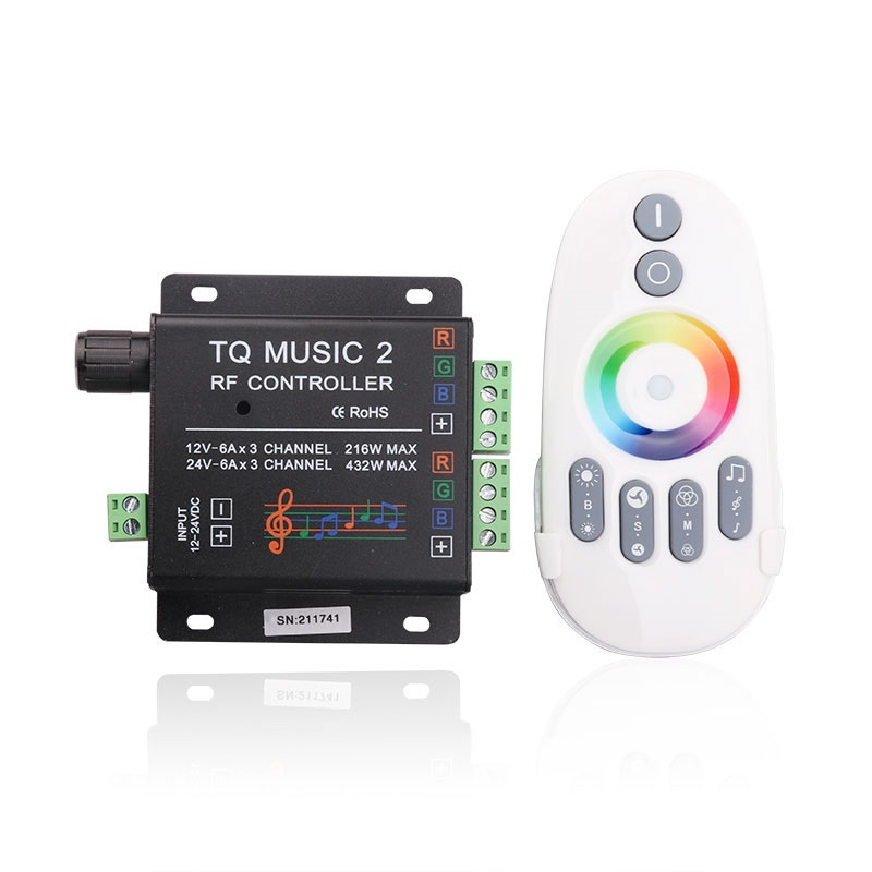 DC12V/24V LED RGB Controller with Music Rhythm Control Function, 2.4G RF Remote Controller