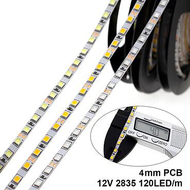 DC 12V 2835 SMD Flexible LED Strip 120LEDs/m Emitting White/Warm white/Blue/Green/Red