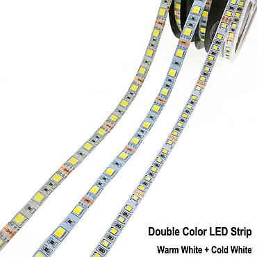 DC 12V 2835 SMD Flexible LED Strip Emitting Double Color Warm White + Cold White