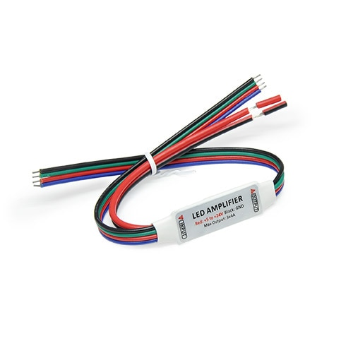 DC5-24V LED Mini RGB Amplifier Strip Lights Adapter with RED & Black Wire