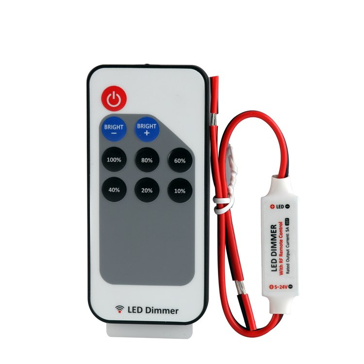 DC5V DC12V DC24V 12A Mini Single Color LED Strip Dimmer Controller with Card Type Remote + Red & Black Connect Line