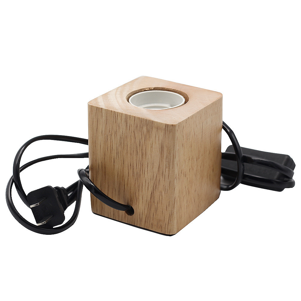 E27 Cube Vintage Lamp Holder Solid Wood Lamp Holder with Switch and Wire
