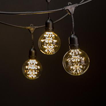 Fairy String Lights - 23' -w/ 10 Pendant G30 Commercial Grade Outdoor Warm White