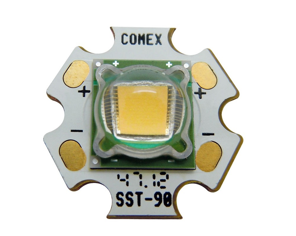 High Power 30W Luminus SST-90 LED Emitter Lamp Light White/Warm White On 20mm Copper