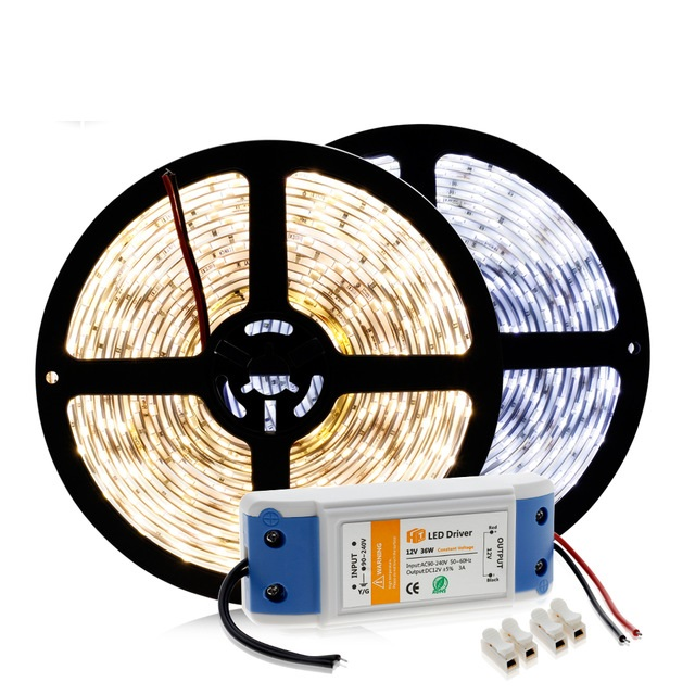 LED Strip 5630 12V 60 LED/m Warm White / White / Cold White 5M Home Decoration Lamps + DC12V 3A Driver